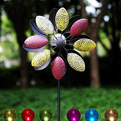 Solar Metall Windrad - dreifarbig mit buntem LED-Licht - Windspiel für draußen - einfache Montage - extra antike Gartendeko - wetterfest, standfest - ideal für Terrasse und Garten - Höhe: 190cm
