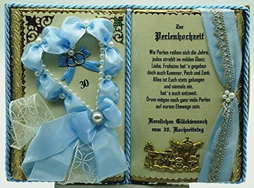 Perlenhochzeit - 30. Hochzeitstag - Geschenkbuch-Dekobuch (mit Holz-Buchständer), Schmuckbücher für alle Anlässe