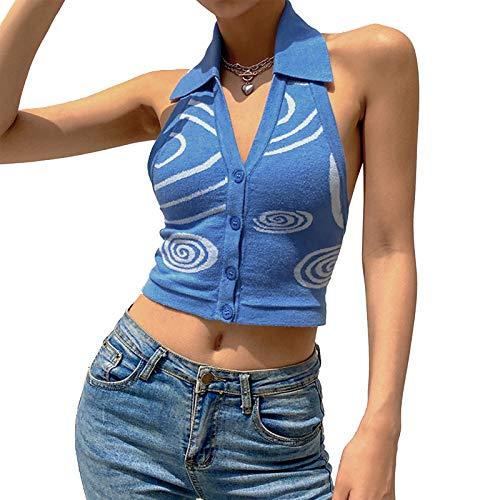 Mujeres Sexy Halter Crop Top Y2K punto V cuello Tank Top moda expuesto ombligo chaleco Streetwear