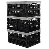 Jekiyo 16-Liter Folding Crates Storage, Collapsible Container Plastic, Set of 3...
