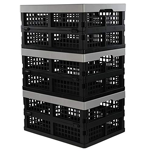 Jekiyo 16-Liter Folding Crates Storage, Collapsible Container Plastic, Set of 3