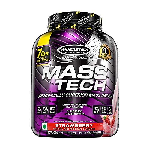 Mass Gainer Whey Protein Powder + Creatine | MuscleTech Mass-Tech Elite | Muscle Builder Whey Protein Powder | Max-Protein Weight Gainer for Men & Women | Strawberry, 7 lbs
