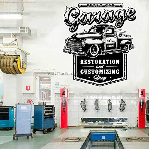 Pegatinas de pared Adhesivos Pared Reparación de automóviles, vinilo, automóvil, camión, servicio, taller de reparación, taller de reparación de automóviles, garaje, decoración de pared 65x57cm