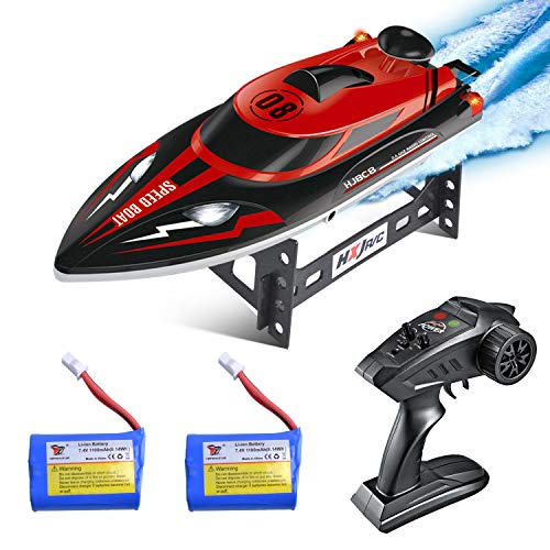 Remote Control Boat, Longruner RC Boats for Kids & Adults 2.4Ghz 25km/H High Speed Remote Control Racing Boat for Pool Lakes, Best Gift Toys for Kids Adults Birthday Christmas LKS1, Silver