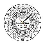 xinxin Reloj de Pared Circle of Fifths Stave Músico Compositor Regalo Enseñanza de música Reloj de Cuarzo Colgante Moderno Teoría de la armonía Estudio Musical Reloj de Pared