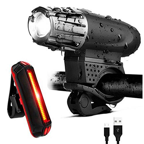 Surenhap Rechargeable USB lumières Ensemble pour phares de Bicyclette +120 lumens, éclairage arrière vélo et IPX5 étanche vélo lumières LED 30-50 mètres la Nuit