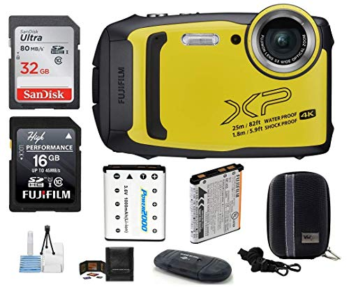 FUJIFILM FinePix XP140 Water, Shock, Freeze, and Dustproof Digital Camera (Yellow) Bundle; Includes: 32GB & 16GB SDHC Memory Cards + Spare Battery + Camera Case + Card Reader + More (Renewed)