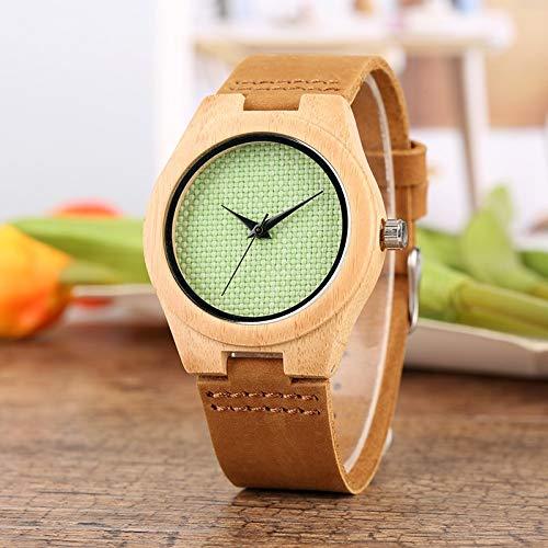 IOMLOP Reloj de Madera, Elegante y Fresco, Esfera de Nailon Verde, Reloj de Madera para Mujer, Relojes de Pulsera Informales de Moda ultraligeros de Cuarzo, niñas y Mujeres