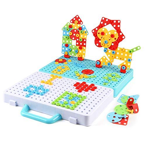 Steckspiel Bohrmaschine Mosaik Spielzeug Bohrer STEM Schrauben Kreatives DIY Werkzeuge Spielzeug Steckspiele für 3-6 Jahre Kinder