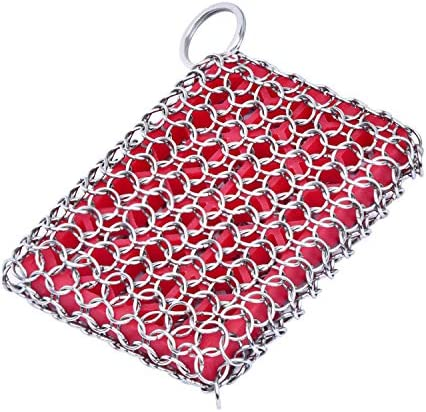 Cast Iron Skillet Cleaner 316 Stainless Steel Chainmail Cleaning Scrubber Built in Silicone product image