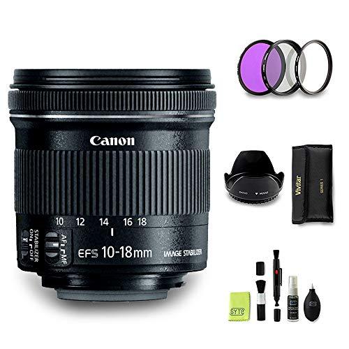 GYTE BUNDLE | Obiettivo Canon - EF-S 10-18mm f/4.5-5.6 IS STM - Teleobiettivo per Fotocamera Digitale Reflex + 3 Pezzi Kit di Filtri + Paraluce + Kit di Pulizia | Pacchetto Accessori Premium