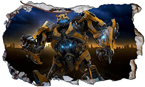 Chicbanners Transformers Bumblebee V0023 Wall Smash Crack Wall Smash Wall Sticker Selbstklebendes Poster Größe 1000 mm breit x 600 mm tief (groß)
