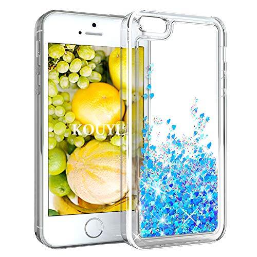 KOUYI Coque iPhone 5 / Se / 5S,Flottant Lamour Liquide Étui Protecteur TPU Cover Brillant Bling 3D Créatif Conception Coques Housse Telephone étui pour iPhone 5 / Se / 5S (4 Pouces) (Bleu)