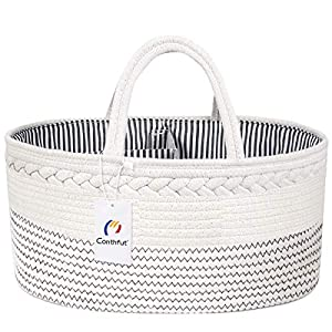 crib bedding and baby bedding conthfut baby diaper caddy organizer 100% cotton rope nursery storage bin for boys and girls large tote bag & car organizer with removable inserts baby shower gift basket