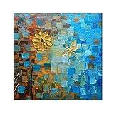 QUANHUA (100% Tableau Peint à la Main 3D) Fleurs d'or Peinture à l'huile sur Toile Abstraite Palette Couteau Art...