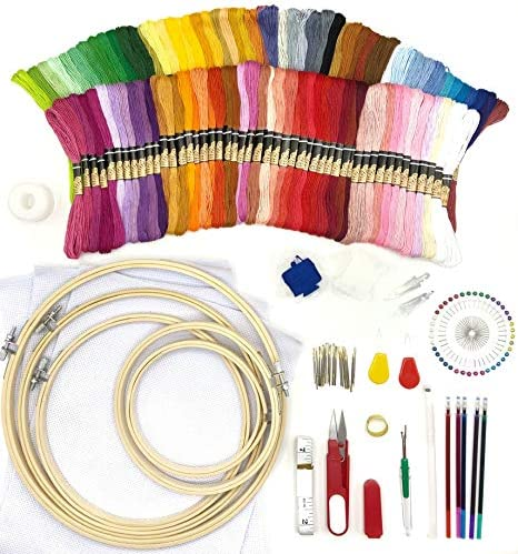 Embroidery Hand Cross Stitch Kit 100 color threads 5 Piece Bamboo Embroidery Hoops 3 Aida Cloths product image