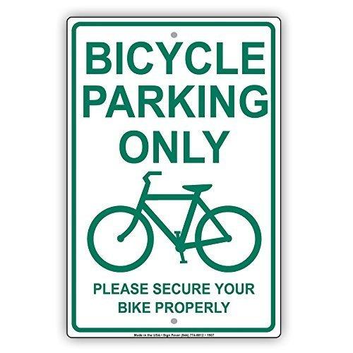 Monsety Retro-Metallschilder, Motiv: Fahrrad Parking Only with Graphic Please Secure Bike Properly Blechschild, Geschenk, Hausstraße, Garagentor, Türdekoration