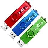 SunData Chiavetta USB 32GB 3 Pezzi PenDrive Girevole USB2.0 Flash Drive Thumb Drive Memoria Stick per Archiviazione Dati con Luce LED (3 colori: Blu Verde Rosso)