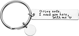 JOVIVI portachiavi in acciaio inox con incisione Drive Safe I Need You Here with me Freundschafts