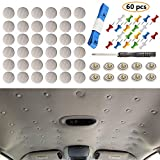 RICWINA 60 pcs Automotive Car Roof Headliner Repair Button, Universal Auto Roof Snap Rivets Retainer Design for Car Roof Flannelette Fixed, with Installation Tool and Fit All Cars