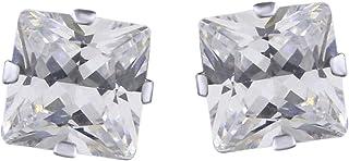 Orecchini a perno in argento Sterling 925 con zirconia cubica bianca 5A, taglio principessa, per donne e ragazze, 3 mm
