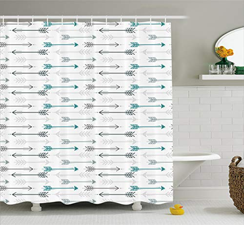 "Ambesonne Teal Shower Curtain, Retro Arrow Pattern in Horizontal Line Heading to Opposite Directions Art Print, Cloth Fabric Bathroom Decor Set with Hooks, 70"" Long, Grey Teal"