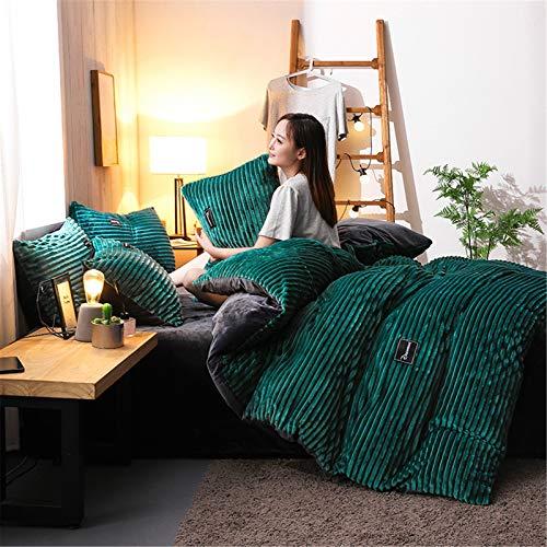 YFFS Bedding, Duvet Cover, Four-piece Suit, AB Version of Cotton Plus Velvet Thickening Winter Warm Bedding Simple Duvet Cover Bed Pure Cotton Crystal Velvet (6,large)