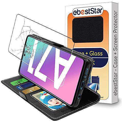 ebestStar - kompatibel mit Samsung Galaxy A71 Hülle SM-A715F Kunstleder Wallet Hülle Handyhülle [PU Leder], Kartenfächern, Standfunktion, Schwarz +Panzerglas Schutzfolie [A71: 163.6x76x7.7mm, 6.7