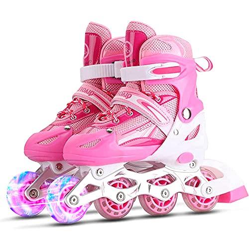 2021 Herren Damen Inliner Inlineskates,ABEC-7 Kugellager,mit 8 leuchtenden Rädern,Dreifacher Sicherheitsschutz,Unisex Fitness Skates für Erwachsene-Pink_M(33-37)