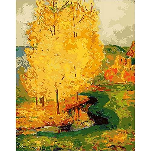 Pintura de paisaje de otoño por números paisaje DIY pintura al óleo por números sobre lienzo marco pintura digital a mano W3 50x65cm