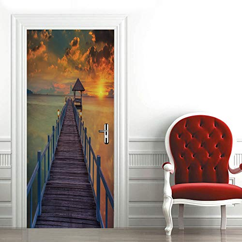 QQFENG Door Murals Stickers Sunset Sea Wooden Bridge Scenery Wallpaper Door Decal Art Wall Decals 77cm x 200cm