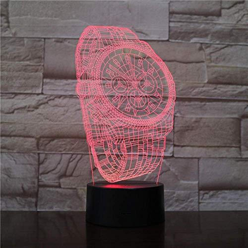 3D LED noche luz para niños abstracto reloj de pulsera 3D ilusión alegría lámpara con control táctil USB carga 16 colores lámparas de escritorio decoración habitación regalos 5