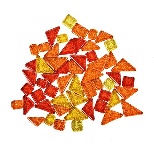 Earlyad Mosaiksteine gemischte Farbe Exquisite und einfache unregelmäßige Kunst DIY Kies Dekoration Art Glas Mosaik Fliese,Orange + Rot + Hellgelb