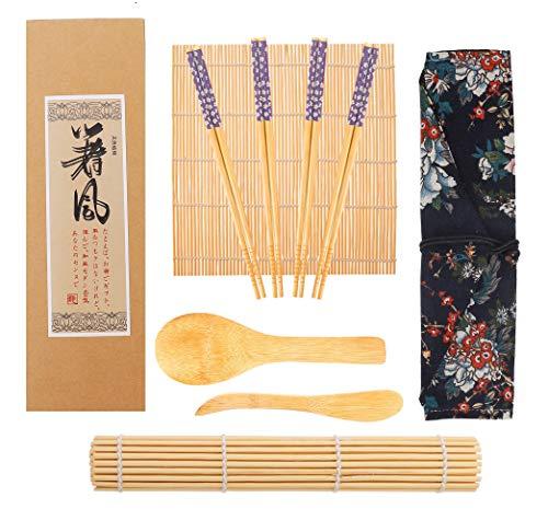 Kit Sushi,Opopark 9 Piezas Herramienta para Hacer Sushi de Bambú Kit para Hacer Sushi de Bambú, 2 Esterillas para Sushi,4 pares de Palillos,Pala de arroz,Separador de arroz,Bolsa de almacenamiento
