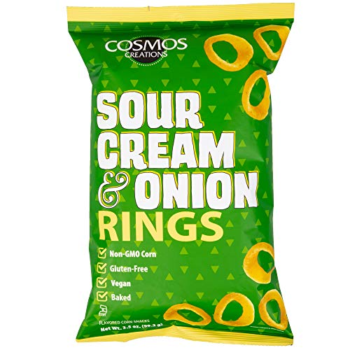 Cosmos Creations Premium Puffed Corn - Sour Cream and Onion Rings - Gluten Free Non-GMO 3.5 oz …