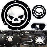 Frenshion Compatible para Motocicleta Cromo negro Timing Accesorios del motor Cubierta del temporizador Derby para Harley Sportster Iron XL 883 1200 04-14 (Paquete de 3 piezas)