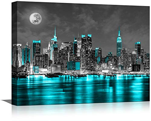 Black and White Canvas Wall Art Wall Decor for Bedroom Paintings Pictures New York Artwork for Home Walls Office Teal Sea City Led Frame Decoration 12x16inch