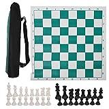Eddwiin International Chess Set Ajedrez de Viaje portátil para Exteriores Enrollable en Tubo de Transporte con Bolsa Grande y Correa para el Hombro fácil de Llevar para Principiantes y niños(53cm)