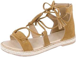 Inlefen Women Flats Sandals Zip Closure Leather Casual Strap Tassel with Sandals