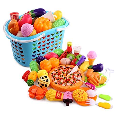Tosbess 40 Pezzi Gioco di Imitazione Cucina - Pizza, Frutta e Verdura in Plastica da Tagliare - Gioco di Ruolo Piccolo Cuoco - Regalo Perfetto per Bambini 3+ Anni