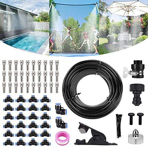 Bearbro Nebulizzatore Giardino Kit di Nebulizzatore, DIY Sistema Irrigazione Giardino, Regolabile Automatico di Irrigazione, per Giardini, Serre e Trampolini Piscinaecc (59.0FT/18M)