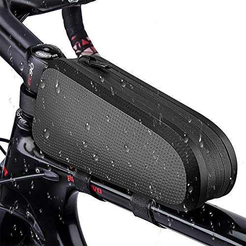 ACETOP Top Tube Bike Bag Bicycle Frame Phone Bag Waterproof Hard Shell Large Capacity Cycling Accessories Repair Tool Pouch Storage for Mountain Road Bike (Black, 2.5 x 8.6 x 3.9in)