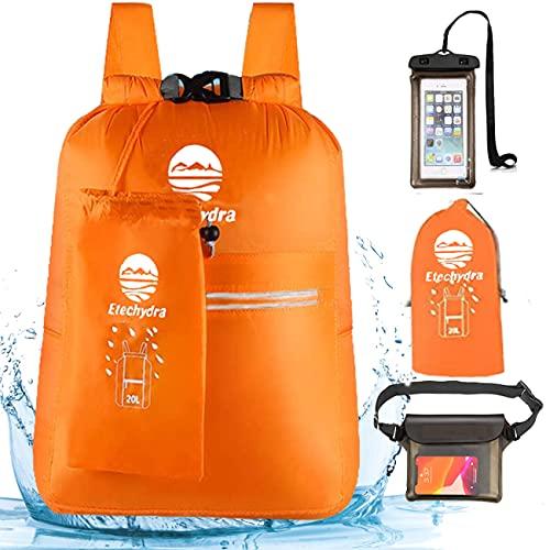 Etechydra Dry Bag Mochila impermeable de 20 litros, ultraligera, impermeable, para exteriores, para barcos, playa, kayak, camping, piragüismo, natación, pesca, senderismo, color naranja