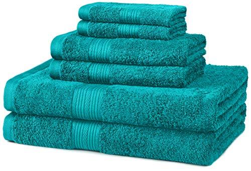 Amazon Basics 6-Piece Fade-Resistant Cotton Bath Towel Set -...