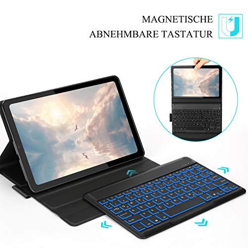 Jelly Comb Beleuchtete Tastatur Hülle für Samsung Galaxy Tab S6 Lite 10,4 Zoll 2020, Abnehmbare Bluetooth QWERTZ Tastatur mit Schützhülle für Samsung Tablet P610/P615, Schwarz