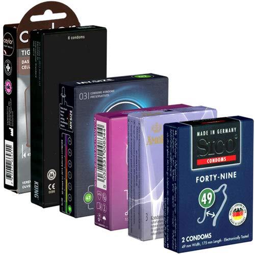Der Kondomotheke® Special Tight SIXPACK - 6 Probierpackungen kleine Kondome für ein enges Gefühl und festen Halt ohne Abrutschen - XS Kondome, 24 Stück