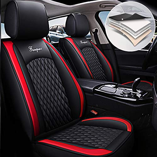 Maidao Car Seat Covers for Ford Focus RS/ST Durable Comfort Leatherette Seat Cushions (Airbag Compatible) Front and Rear Seats Covers Black red