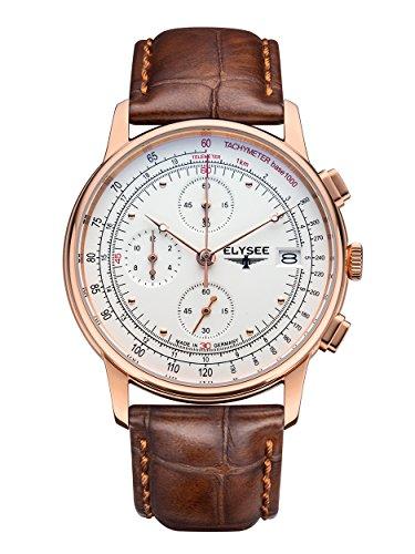 Elysee Heritage Herren Armbanduhr 11013 Chronograph Leder braun