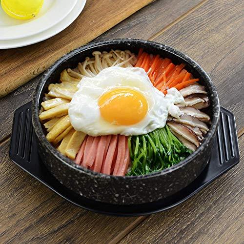 AMYZ Pentola Calda frizzante per Cucina Coreana per bibimbap e zuppa,Padella in Pietra Coreana in Ceramica Premium,Padella Media con Coperchio Nero 15 cm (6 Pollici)