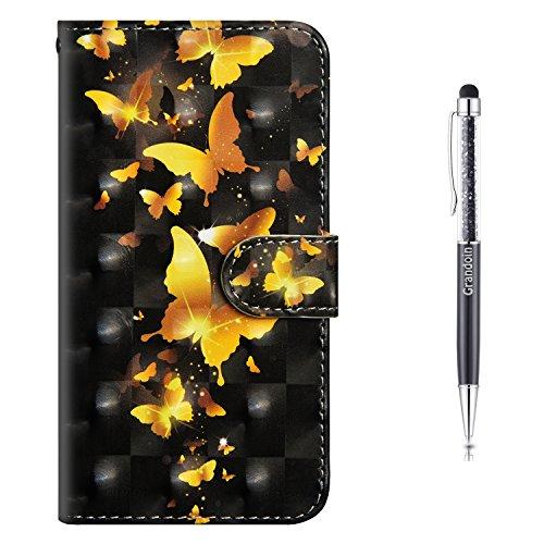 Grandoin iPhone 6S Hülle,iPhone 6 Hülle, Handyhülle im Brieftasche-Stil für Apple iPhone 6S /6 4.7 Zoll Handytasche PU Leder Flip Cover 3D Bunte Muster Hülle Etui Hülle (Gelber Schmetterling)